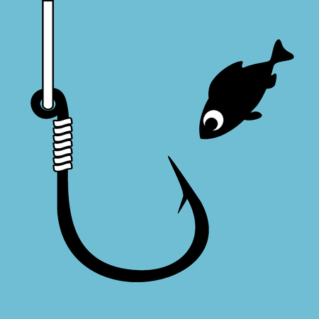 Black fish hook with fishing line isolated on blue. Funny cartoon fish looking at hook. Concept of curiosity. Close danger. Vector Illustration.