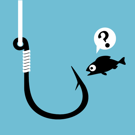 Black fish hook with fishing line isolated on blue. Funny frightened cartoon fish looking at hook. Concept of confusion. Close danger. Vector Illustration.