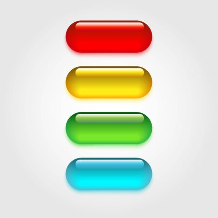 Realistic glass buttons isolated on light background. Set of colorfull pillss. Vector Illustration. Illustration