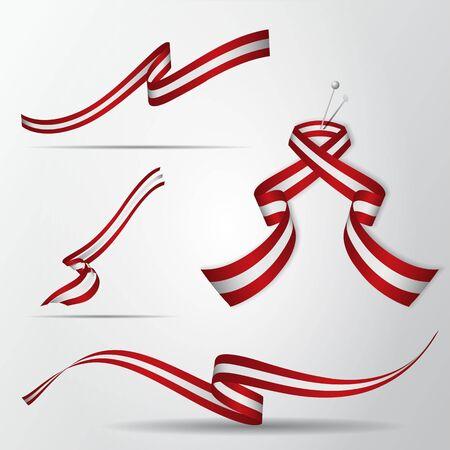 Flag of Austria. Austrian ribbons set  Vector illustration.