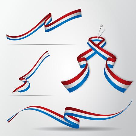 Dutch ribbon set vector illustration. Illustration
