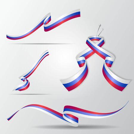 Russian ribbons set vector illustration.