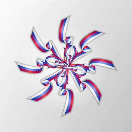 Ribbon design with russian tricolor vector illustration.