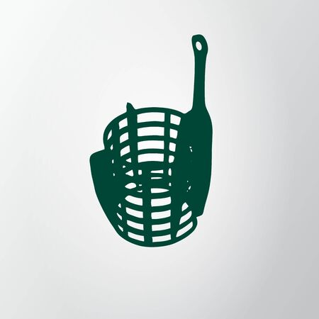 Green feeder net isolated on gray background. Fishing icon. Wire cage. Vector illustraion, EPS10.