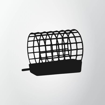 Black feeder net isolated on gray background. Fishing icon. Wire cage. Vector illustraion, EPS10.