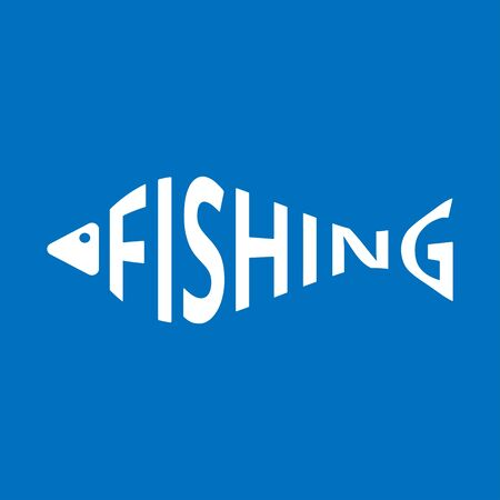 Stylized word in shape of fish isolated on blue. Fishing. Web icon, symbol, sign. Vector Illustration, EPS10.