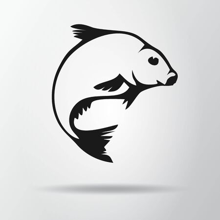 Black fish isolated on gray background with shadow. Bream icon, symbol. Abramis brama. Vector Illustration, EPS10. Illustration