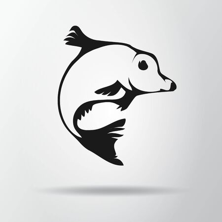 Black fish isolated on gray background with shadow. Carp icon, symbol. Cyprinus carpio. Vector Illustration, EPS10. Illustration