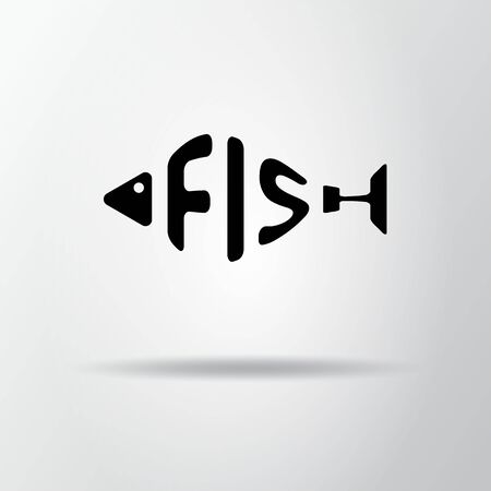Stylized word in shape of fish isolated on gray. Seafood restraurant. Web icon, symbol. Vector Illustration, EPS10.