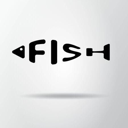 Mot stylisé en forme de poisson isolé sur fond gris. Restaurant de fruits de mer. Icône Web, symbole. Illustration vectorielle, Eps10. Vecteurs