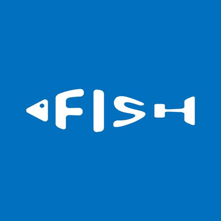 Stylized word in shape of fish isolated on blue. Seafood restraurant. Web icon, symbol. Vector Illustration, EPS10. Illustration