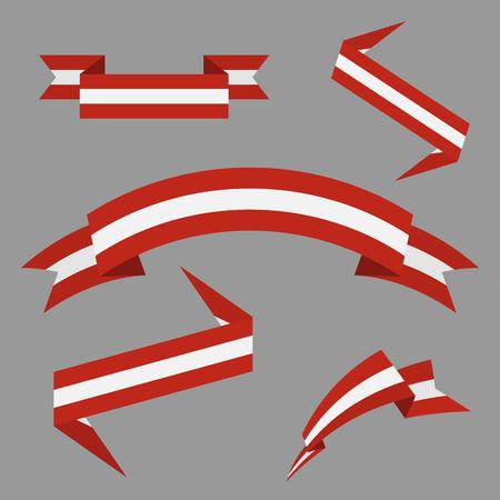 Flag of Austria. Flat ribbons set. Design elements. Vector Illustration.