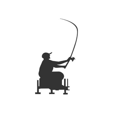 Silhouette of fisherman casting fishing rod on white background. Feeder in action. Vector Illustration Illustration