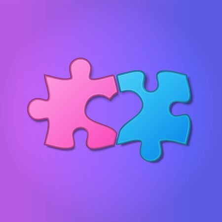 Realistic pieces of jigsaw puzzle with heart shape between them on purple background. Two halves of the whole. Love, medical, relationship symbol. Valentines concept. Vector Illustration. Иллюстрация