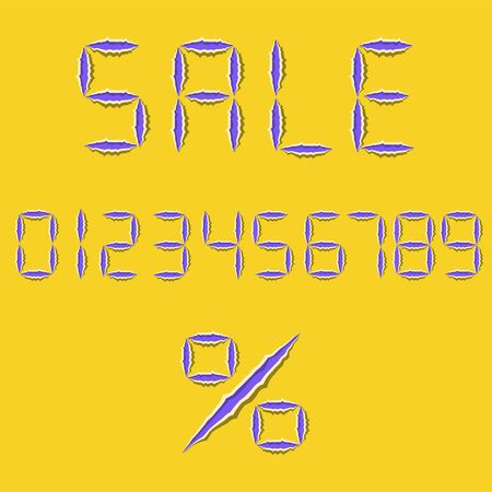 Funny digital stylized purple symbols with with ragged edges on yellow background. Torn sale, discount text. Percent sign. Numbers from 0 to 9. Vector illustration. Stock Illustratie