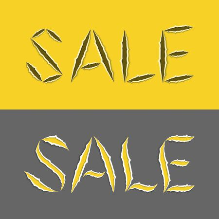 Realistic stylized word sale with ragged edges in yellow and gray colors. Torn lettering . Vector illustration Ilustração