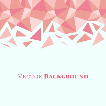 Abstract low poly geometric background with triangles in living coral colors and space for text. Mosaic texture. Vector illustration. Ilustração