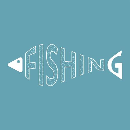 Word fishing in form of fish with hooks texture isolated. Fish silhouette. Fishing. Web icon, symbol, sign. Flat design. Vector Illustration.