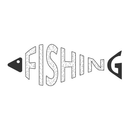 Word fishing in form of fish with hooks texture isolated on white. Fishing. Fish silhouette. Web icon, symbol, sign. Flat design. Vector Illustration