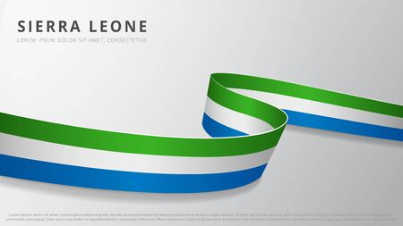 Flag of Sierra Leone. Realistic wavy ribbon with leonean flag colors. Graphic and web design template. National symbol. Independence day poster. Abstract background. Vector illustration.