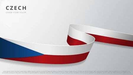 Flag of Czech Republic. Realistic wavy ribbon with Czech flag colors. Graphic and web design template. National symbol. Independence day poster. Abstract background. Vector illustration 向量圖像