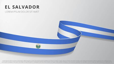 Flag of El Salvador. Realistic wavy ribbon with Salvadoran flag colors. Graphic and web design template. National symbol. Independence day poster. Abstract background. Vector illustration. Ilustração