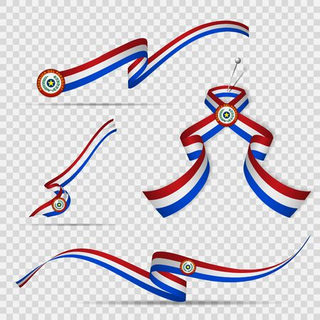 Flag of Paraguay. 15th of May. Set of realistic wavy ribbons in colors of paraguayan flag on transparent background. Independence day. National symbol. Vector illustration.