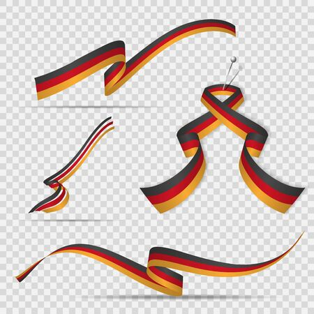Flag of Germany. 3rd of October. Set of realistic wavy ribbons in colors of german flag on transparent background. Independence day. National symbol. Graphic design template. Vector illustration Stock Illustratie
