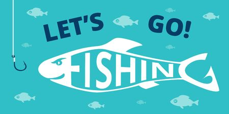 Funny fishing poster. Angry fish looks at fish hook. Design elements for fisherman club, tournament, equipment . Vector illustration