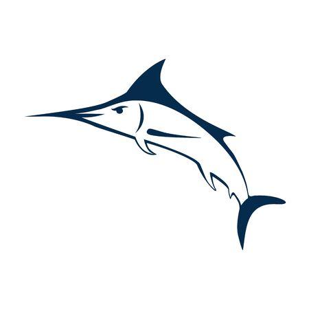 Marlin fish logo. Swordfish fishing emblem. Angry marlina. Design elements for fisherman club or tournament. Big game hunting. Vector illustration