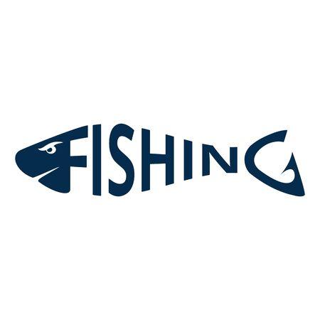 Fishing logo, emblem isolated on white background. Lettering fishing shaped like a fish. Design element. Vector illustration