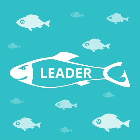 Leadership and visionary concept. Group of fish. Everyone looks at leader. Alpha male. Only one knows the way. Vector illustration