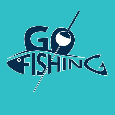 Fishing logo, emblem. Lettering fishing shaped like a fish. Design element for fisherman club or tournament. Vector illustration