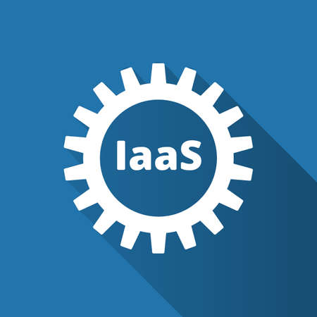Infractructure as a service. IaaS technology icon . Packaged software, decentralized application, cloud computing. Gear wheels. Application service. Vector illustration.
