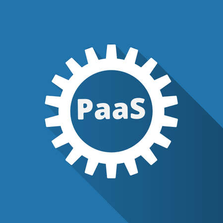 Platform as a service. PaaS technology icon. Packaged software, decentralized application, cloud computing. Gear wheels. Application service. Vector illustration. Illustration