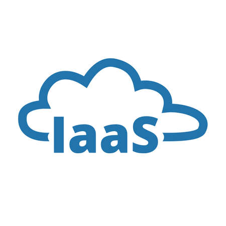 Infractructure as a service. IaaS technology icon. Packaged software, decentralized application, cloud computing. Gear wheels. Application service. Vector illustration.