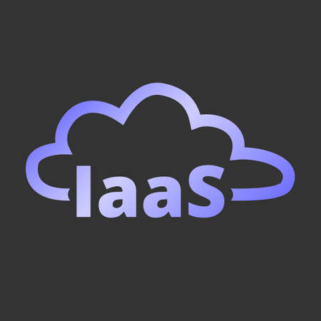 Infrastructure as a service. IaaS technology icon. Packaged software, decentralized application, cloud computing. Gear wheels. Application service. Vector illustration. Illustration