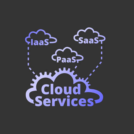 Cloud services icon. SaaS, PaaS, IaaS. Technology, packaged software, decentralized application, cloud computing. Gear wheels. Vector illustration.