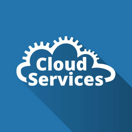 Cloud services icon. SaaS, PaaS, IaaS. Technology, packaged software, decentralized application, cloud computing. Gears in the cloud line. Vector illustration.