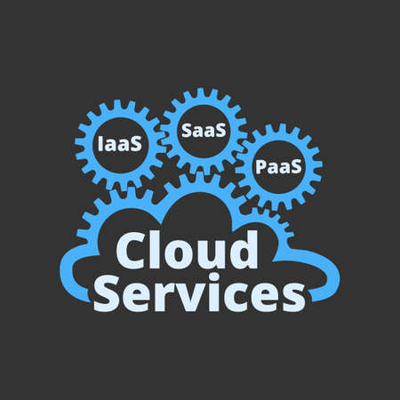 Cloud services icon. Technology, packaged software, decentralized application, cloud computing. Vector illustration.