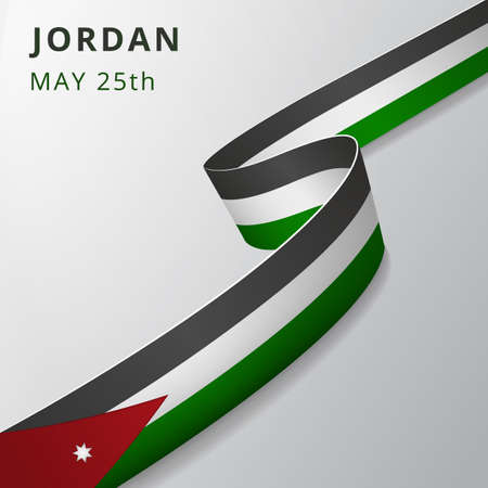 Flag of Jordan. 25th of May. Vector illustration. Wavy ribbon on gray background. Independence day. National symbol. Seven-pointed star. Vetores