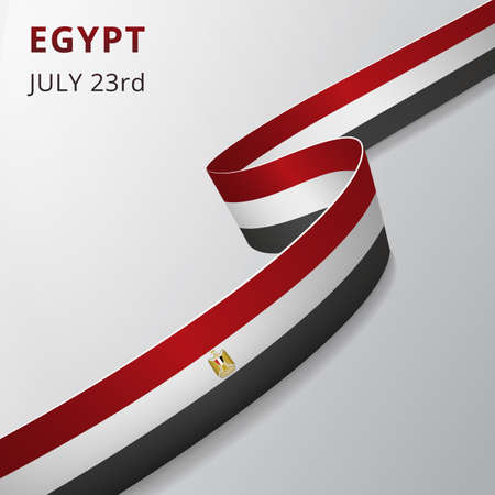 Flag of Egypt. 23rd of july. Vector illustration. Wavy ribbon on gray background. Independence day. National symbol. Coat of arms. Eagle of Saladin.
