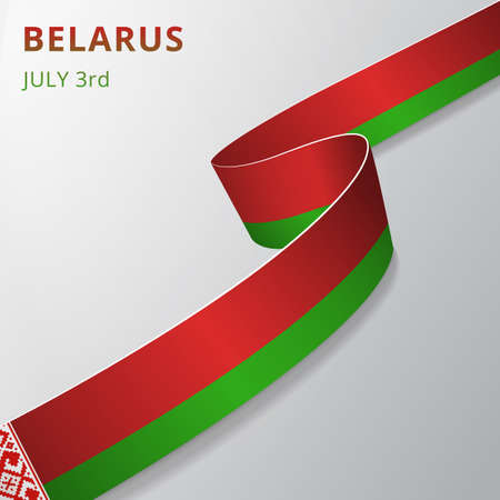 Flag of Belarus. 3rd of July. Vector illustration. Wavy ribbon on gray background. Independence day. National symbol. Byelorussian ornament.