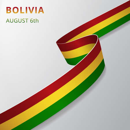 Flag of Bolivia. 6th of August. Vector illustration. Wavy ribbon on gray background. Independence day. National symbol. Graphic design template. Vector Illustration