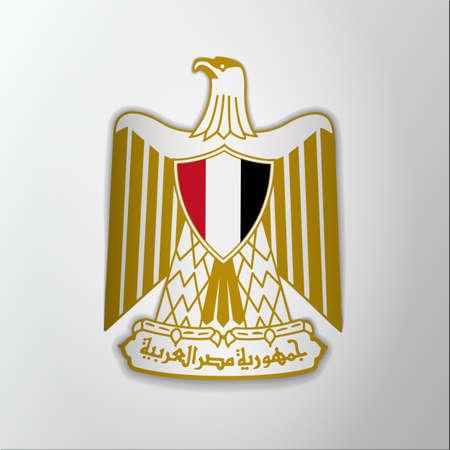Emblem of Egypt. 23rd of july. Vector illustration. Eagle of Saladin. Blazon, coat of arms. National symbol. Graphic design template.