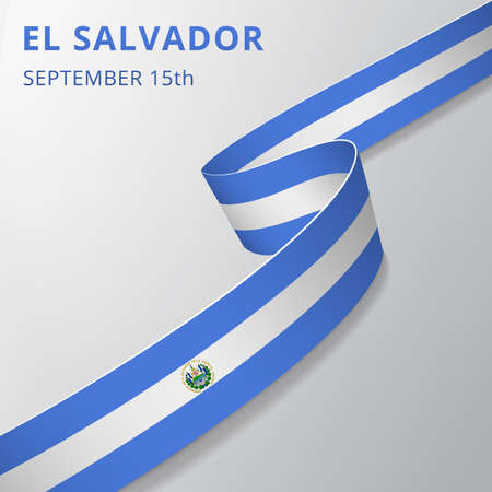 Flag of Salvador. 15th of September. Realistic wavy ribbon in colors of salvadoran flag. Independence day. National symbol. Vector illustration. EPS10.