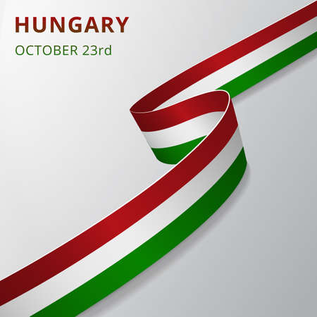 Flag of Hungary. 23rd of October. Realistic wavy ribbon in colors of hungarian flag. Independence day. National symbol. Vector illustration.
