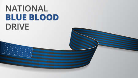 Realistic blue and black ribbon. Vector illustration. National Blue Blood Drive. Support to Americas law enforcement officers. Concerns of Police Survivors. Grey background.