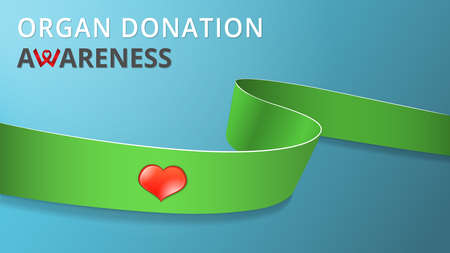 Realistic lime green ribbon. Awareness organ donation month poster. Vector illustration. World organ donation day solidarity concept. Symbol of Lime disease, dwarfism. Red heart icon.
