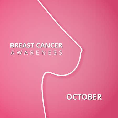 October Breast Cancer Awareness month. International day against cancer. Woman s silhouette. Vector Illustration. Poster, ad, social media, cover.